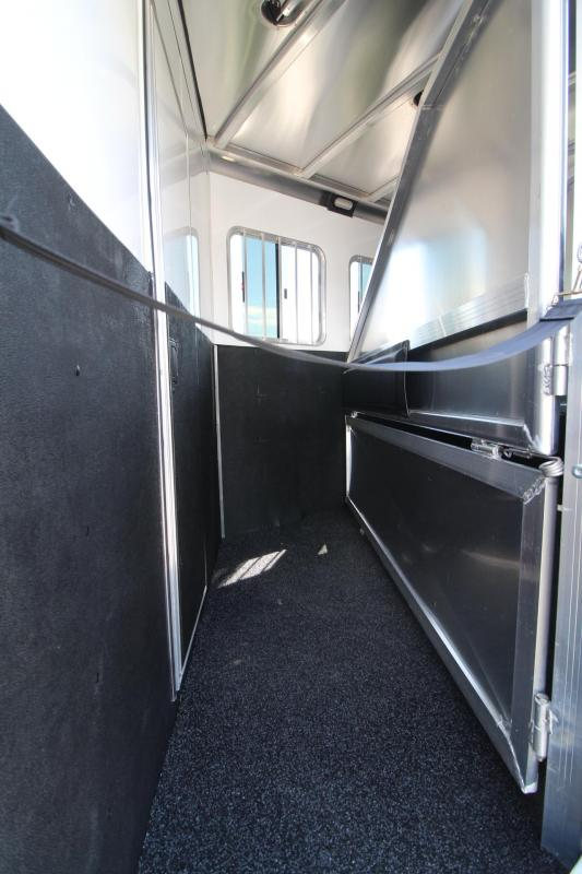 2020 Exiss Escape 7306 - 6ft SW Living Quarters 3 Horse Trailer - Easy Care Flooring - Stud Divider - Electric Awning