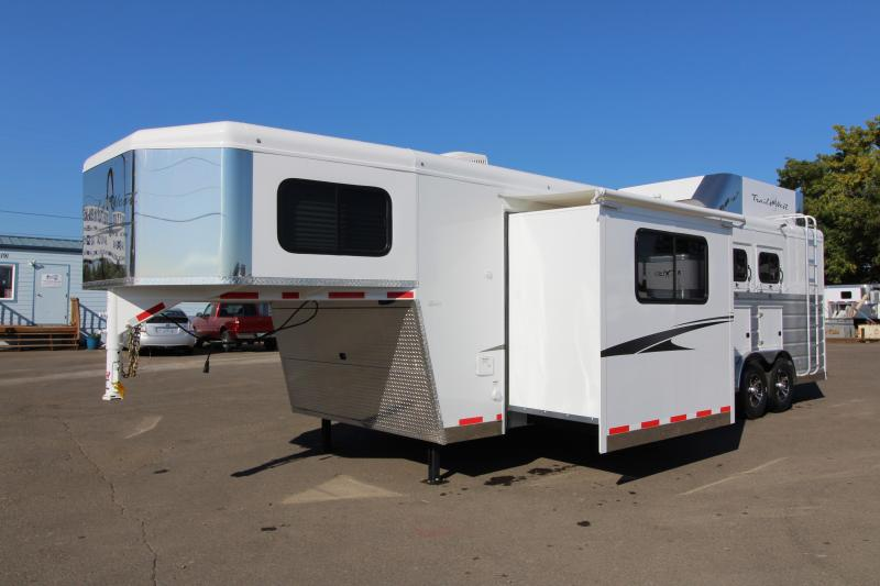 "NEW 2019 Trails West Sierra 11' x 15' 8"" Living Quarters - 8 Wide with Slide Out 3 Horse Trailer - Steel Frame Aluminum Skin - Mangers- Hay Rack and Ladder - Power Awning Upgrade - Upgraded Hoof Grip Easy Care Flooring"
