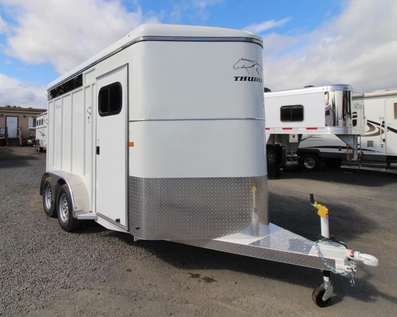 "2020 Thuro-Bilt Wrangler Plus 7' 6"" Tall 2 Horse Trailer w/ Plexi Glass - Swing Out Saddle Rack"