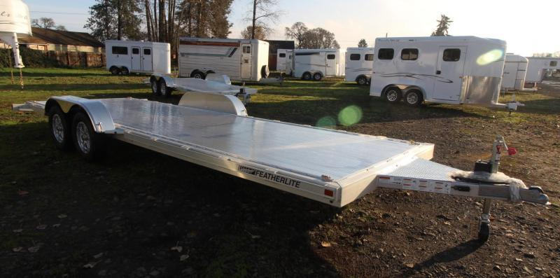 2021 Featherlite 3182 - 22ft FLATBED CAR TRAILER ALL ALUMINUM WITH RAMPS