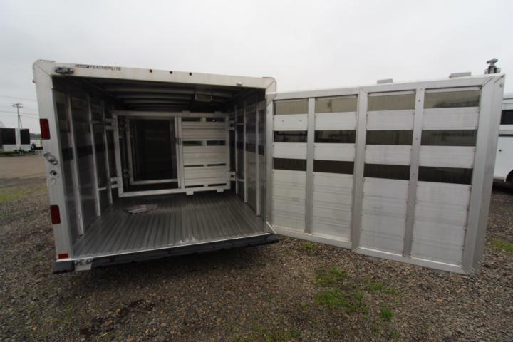 2021 Featherlite 16' Low Pro Stock Trailer with Sliding Gate Rail Livestock Trailer