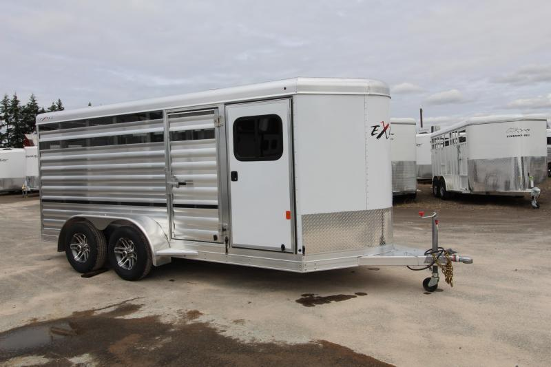 2021 Exiss Exhibitor Mini Combo 615A Stock Trailer-Removable Pens-Rear Ramp-Tack Room-All Aluminum