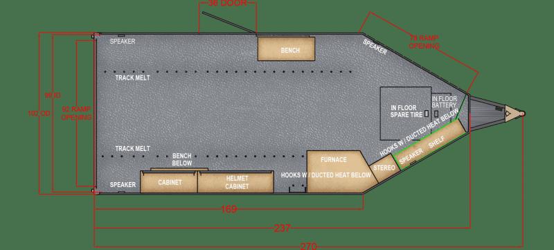 2021 Trails West Manufacturing RPM 28' BP BURANDT EDITION - 14x14 VENT CAMPER Snowmobile Trailer
