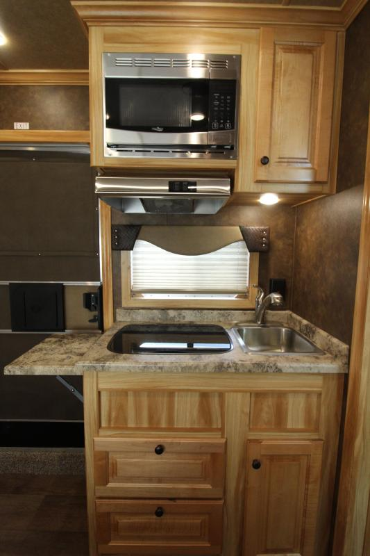 """NEW 2019 Exiss 7410 - 10' Short Wall L.Q. with Slide-out - 4 Horse - All Aluminum Trailer - Easy Care Flooring Upgrade - Upgraded Interior - Dinette - Stud Wall - Escape Door - 7'8"""" Tall"""