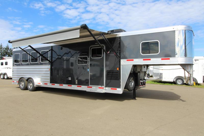 "NEW 2019 Exiss 7410 - 10' Short Wall L.Q. with Slide-out - 4 Horse - All Aluminum Trailer - Easy Care Flooring Upgrade - Upgraded Interior - Dinette - Stud Wall - Escape Door - 7'8"" Tall"