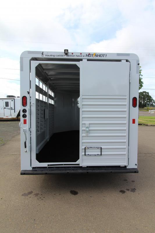 2020 Trails West Hotshot 17ft Livestock Trailer - Rear Slider Gate - Solid Middle Divider - Floor mats