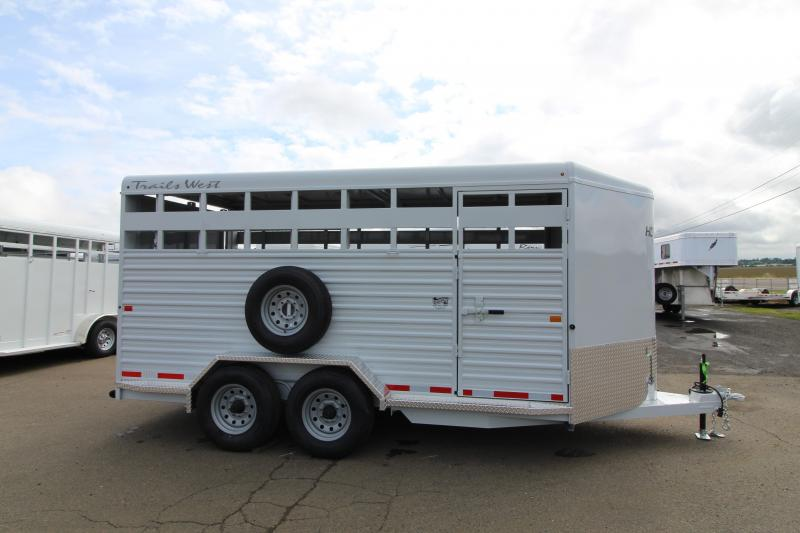 2020 Trails West Hotshot 17ft Livestock Trailer - Rear Slider Gate - Solid Middle Divider - Floor mats