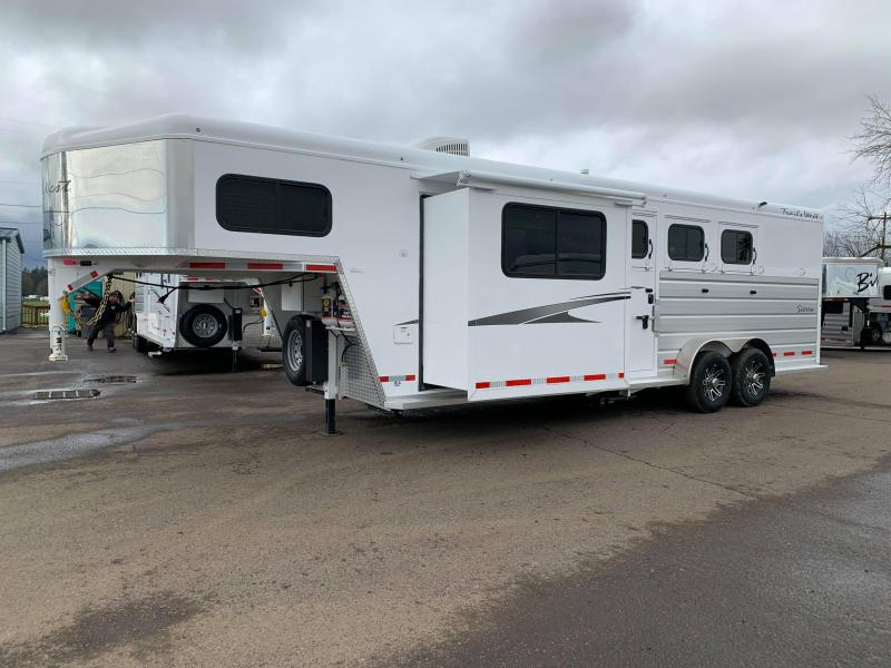 2020 Trails West Sierra 3 Horse Trailer 8' x 13' LQ w/ Slide - Dinette - Swing Out Saddle Rack - Lined and Insulated Horse Area - PRICE REDUCED $1200!