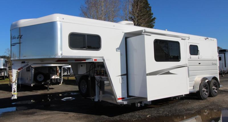 2020 Trails West Sierra 8x13 w/ Slide Out 2 Horse Trailer - Hoof Grip Easy Care Flooring - Power Awning - Folding Rear Tack PRICE REDUCED $1000