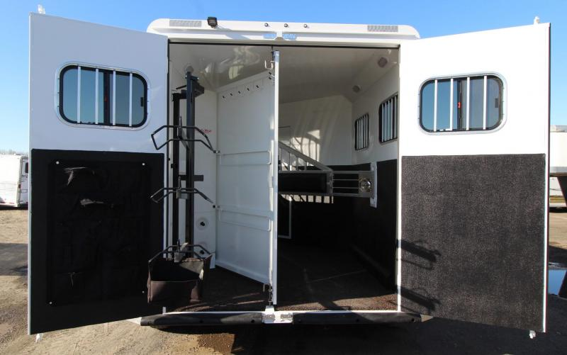 2020 Trails West Sierra 8x13 w/ Slide Out 2 Horse Trailer - Hoof Grip Easy Care Flooring - Power Awning - Folding Rear Tack