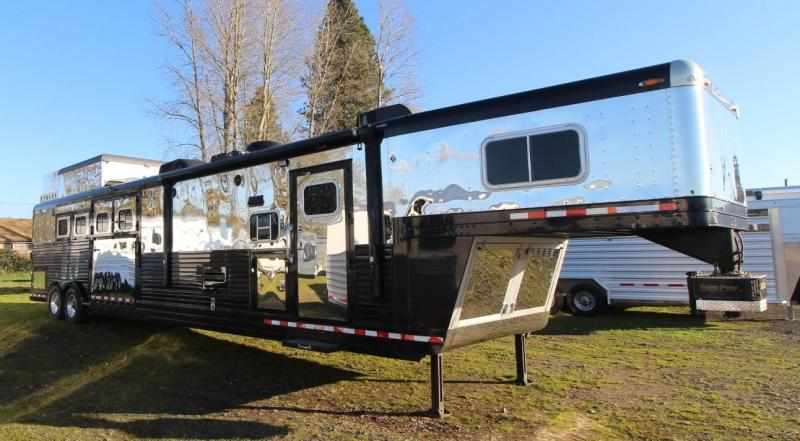 "2006 C and C TL 4 HORSE TRAILER 17'6"" SW BLACK & STAINLESS STEEL - SLANT & REVERSE LOAD"