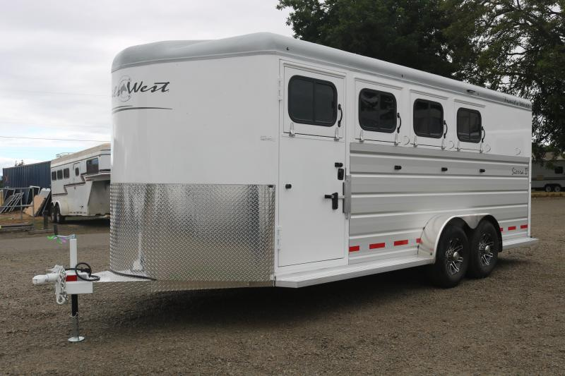 2022 Trails West Sierra 4 Horse  Bumper Pull - Escape Door - Swing Out Saddle Rack - Water Tank - Drop Down Windows & Bars - Aluminum Air Flow Dividers - Safety Screens