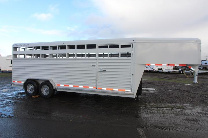 "2021 Trails West 20' Hotshot Stock Trailer-Slider in Rear-54"" Escape Door-7'6"" Wide"