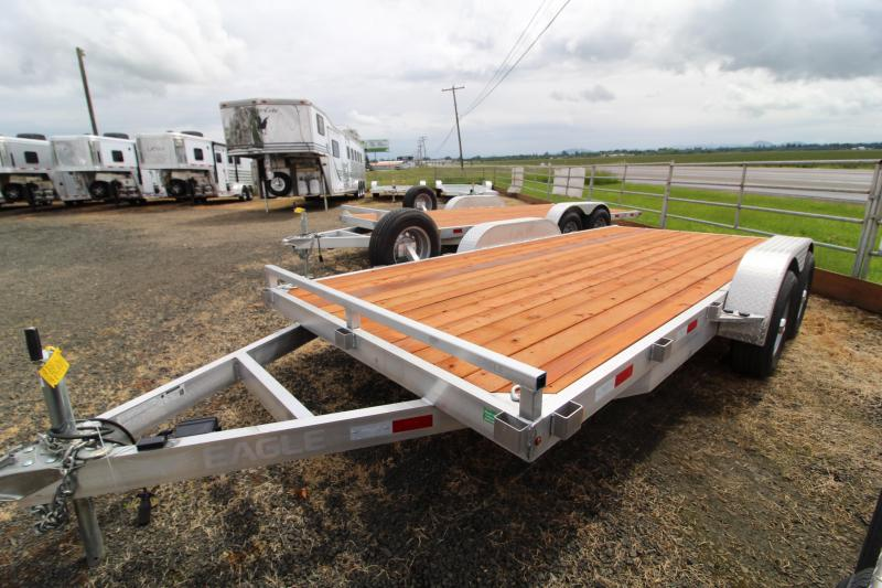 2020 Eagle 7' x 16' Aluminum Flatbed Trailer - Removable Fenders - Pressure Treated Wood Decking- Extended Ramps