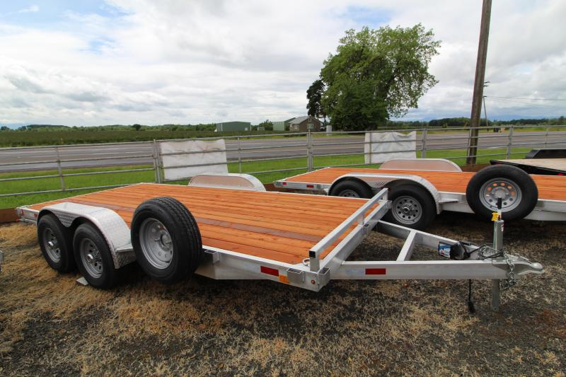 2020 Eagle 7x16 Aluminum Flatbed Trailer - Removable Fenders - Pressure Treated Wood Decking- Extended Ramps