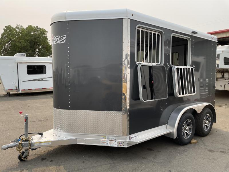 2022 Exiss Express SS 2 Horse Bumper Pull - Drop Down Windows & Bars - Easy Care Flooring