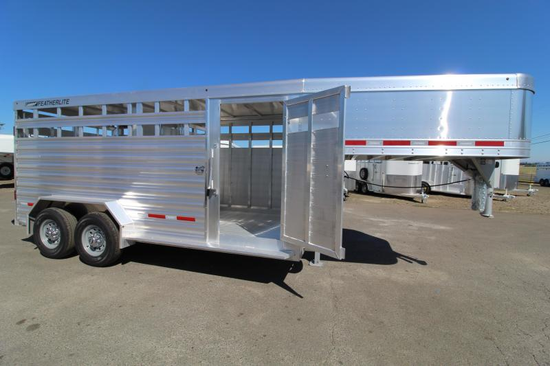 2021 Featherlite 8127 16' Stock Trailer  - Center Gate with Slider
