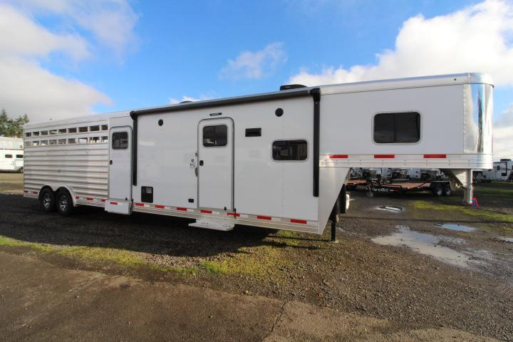 2021 Exiss Trailers 8032-Stock Combo LQ-10'SW-HUGE Mid Tack-Side Ramp Livestock Trailer-Fold Down Bunk