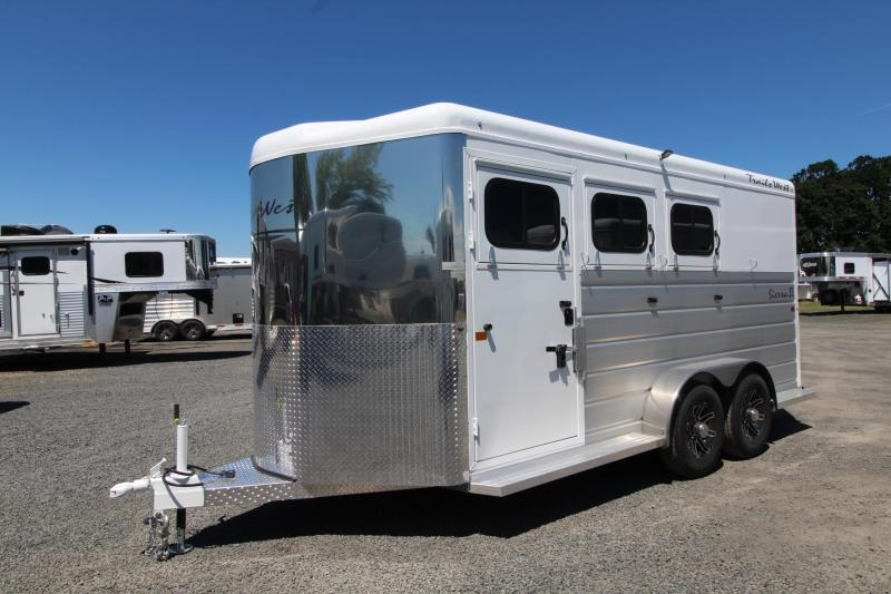 "2020 Trails West Sierra II 7'6"" Tall with Escape Door 3 Horse Trailer Steel Frame Aluminum Skin"