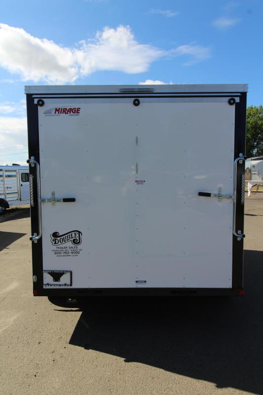 NEW 2019 Mirage Xpres 7' x 12' Enclosed Cargo Trailer- Xtra Package - Crystal White Exterior - Bar Lock Curbside Man Door - Rear Ramp Door - 1k Fold Down Stabilizer Jack Package - Flat Roof-  V-Nose