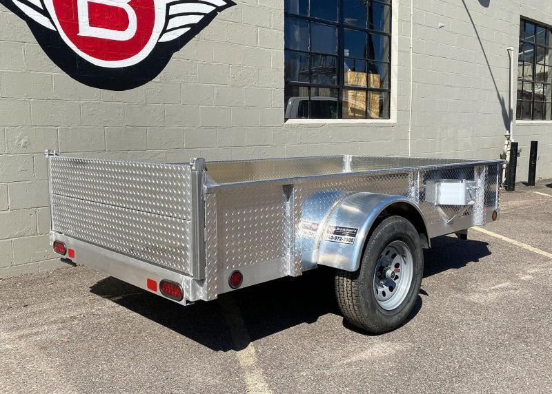 Quality Trophy 5x10 Aluminum Utility Trailer - Diamond Plate Sides - Stacked Rear Ramps!