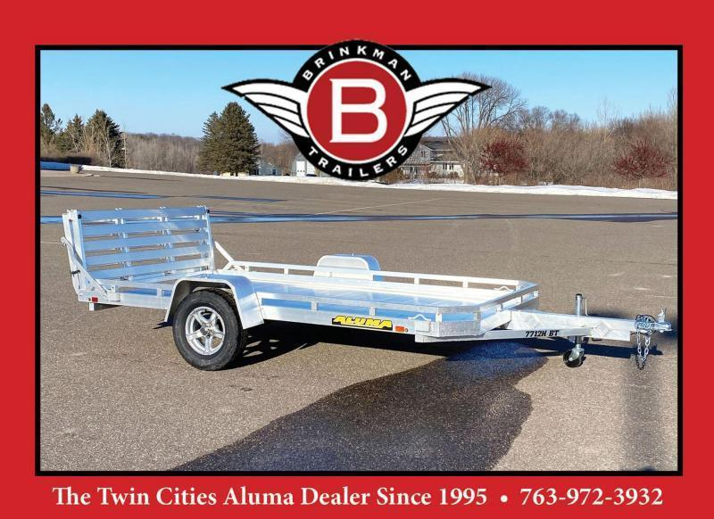 Aluma 7712H-S-BT Heavy Duty Aluminum Utility Trailer - Bi-Fold Tailgate!