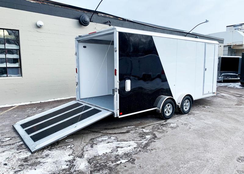 ALUMA 7.5X23 (18'+5'V) ENCLOSED ALUMINUM SNOWMOBILE TRAILER - 7' INT.