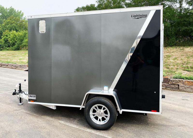 """Lightning 6x10 Enclosed Aluminum Cargo Trailer - 6'9"""" Int. - Rear Ramp!"""