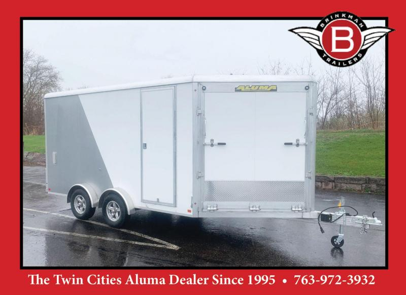 ALUMA 7.5X19 (14'+5'V) Aluminum Enclosed Snowmobile Trailer - 7' Int.