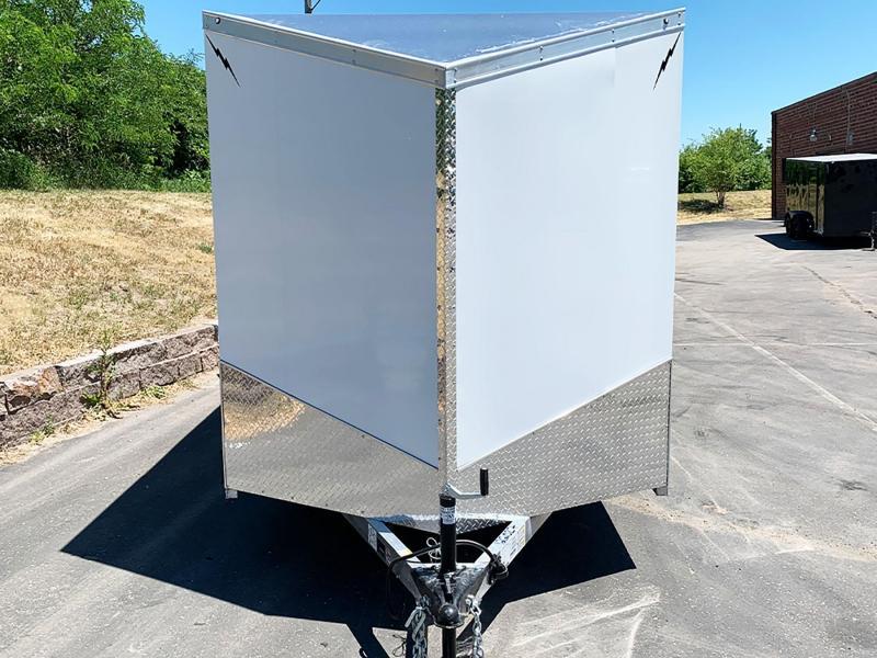 """Lightning 7x18 Aluminum Enclosed Trailer - 6'9"""" Int. - Rear Ramp!"""