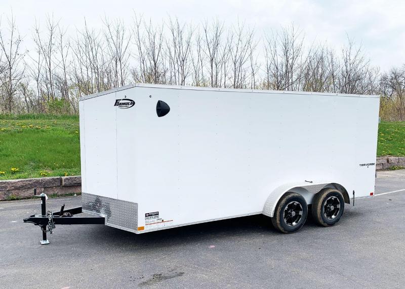 Formula 7x16 Traverse Enclosed Trailer - Double Rear Doors!