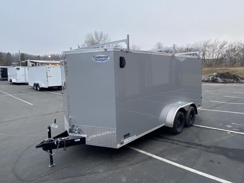 Continental Cargo 7x16 Enclosed Contractor Trailer with Ladder Racks
