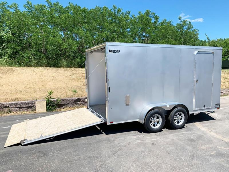 """Lightning 7x14 Aluminum Enclosed Trailer - 6'9"""" Int. - Rear Ramp!"""