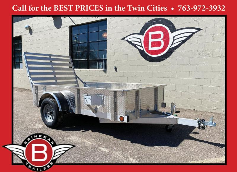 Quality Trophy 5x8 Aluminum Utility Trailer - Diamond Plate Sides - Rear Ramp!
