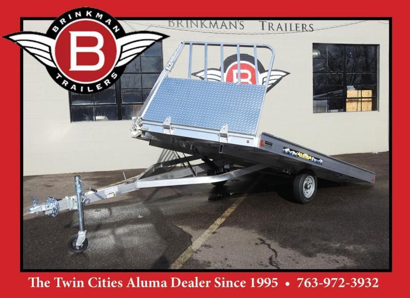 Aluma 8612D Tilt Aluminum 2-Place Snowmobile Trailer - Drive Off Ramp!