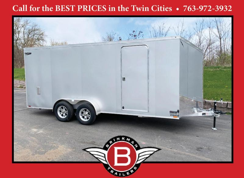 "Lightning 7x20 (18'+2' V) Aluminum Enclosed Trailer - 80"" Int. - Rear Ramp - UTV!"