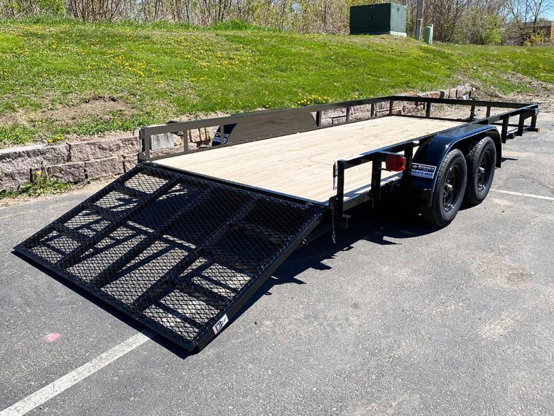 Top Quality Top Hat 83x16 Tandem Axle Steel Utility Trailer - Rear Ramp!