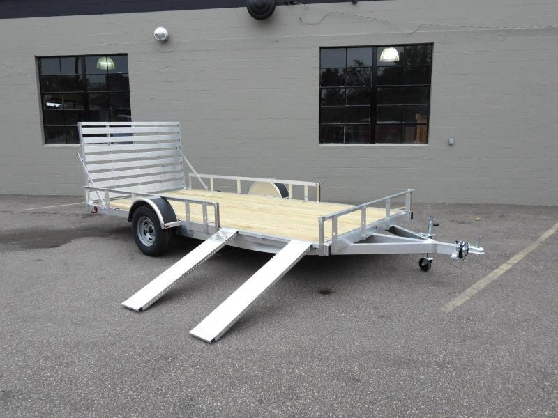Trophy 7 x 14 Aluminum ATV/UTV Trailer w/ Side Ramps -Rear Ramp