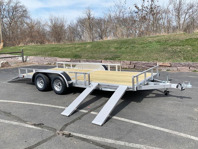 Quality Trophy 7x16 Aluminum ATV Trailer - Rear Ramp - Side Ramps!