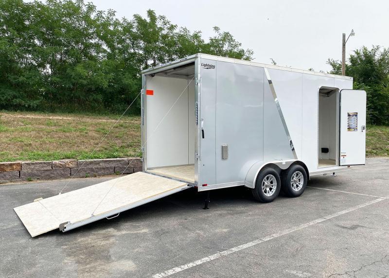 """Lightning 7x16 Aluminum Enclosed Trailer - 7'3"""" Int. - Rear Ramp!"""