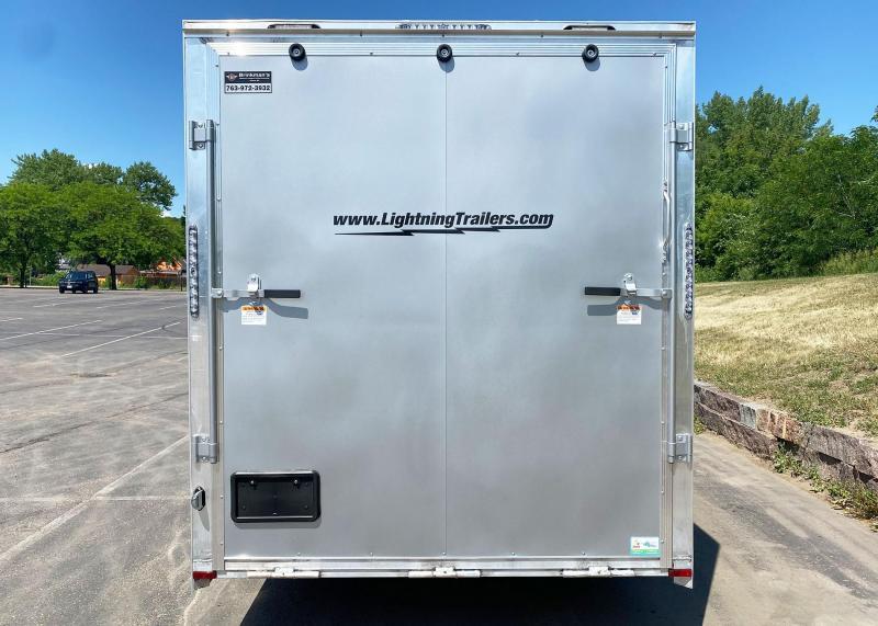 """Lightning 7x16 Aluminum Enclosed Trailer - 7'4"""" Int. - Rear Ramp!"""