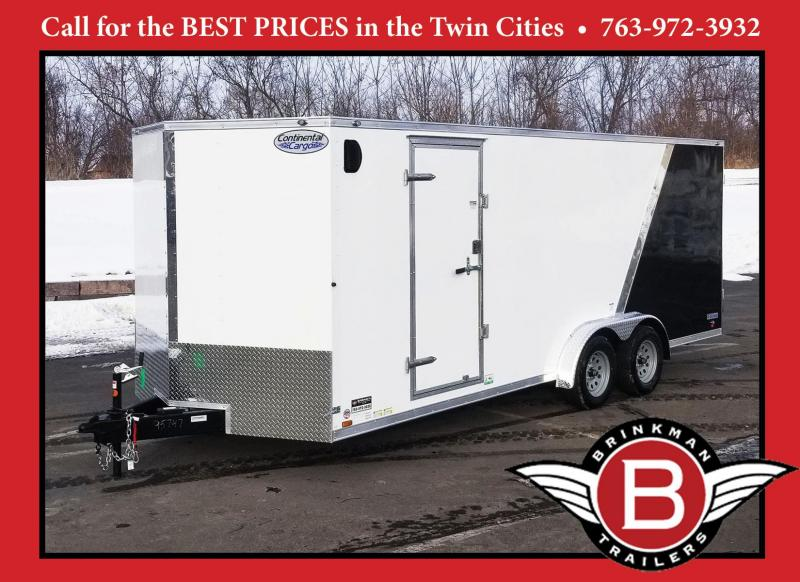 "Continental 7.5x20 Enclosed Cargo Trailer - 6'6"" Interior - Rear Ramp"