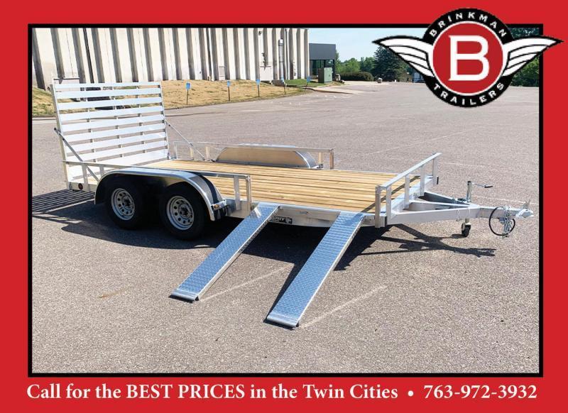 "Trophy 7x14 Tandem Axle Aluminum ATV/UTV Utility Trailer - 58"" Side Loading Ramps!"