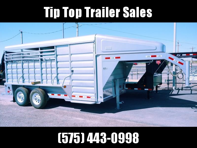 2021 GR Trailers 6.8' x 16' Gooseneck Tamden Axle Stock Trailer (BFST6816W14LR) Livestock Trailer