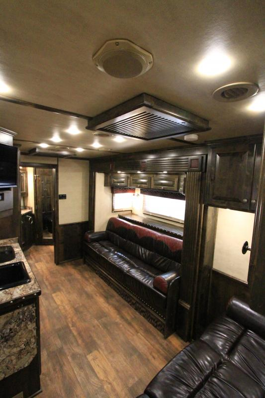 2015 Platinum 5H 17' SW Slide Out Rev Load Horse Trailer