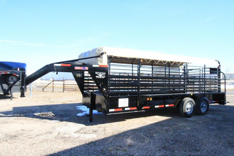 2021 Neckover 20' GN Stock Trailer - BT w/ Tarp