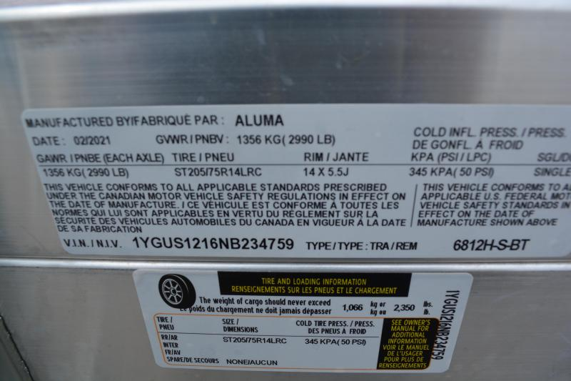 "2022 Aluma 6812H-BT Utility Trailer 5'8""X12'"