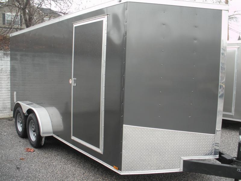 "Due 7/21 ""HOT DEAL"" 2020 Spartan 7' X 16'  CHARCOAL *6 D Rings* 2 Way Aluminum Side Vents Enclosed Cargo Trailer"