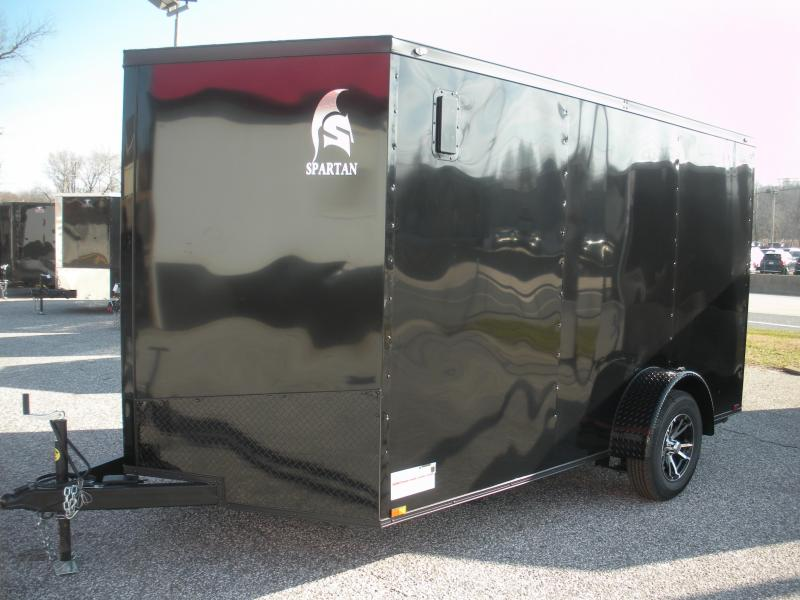 "Due in Spring 2021 *2021  Spartan 7' X 12' 3K Black w/ ""Black Trim Pkg."" Motorcycle Pkg. Semi-Screwless Enclosed Cargo Trailer"