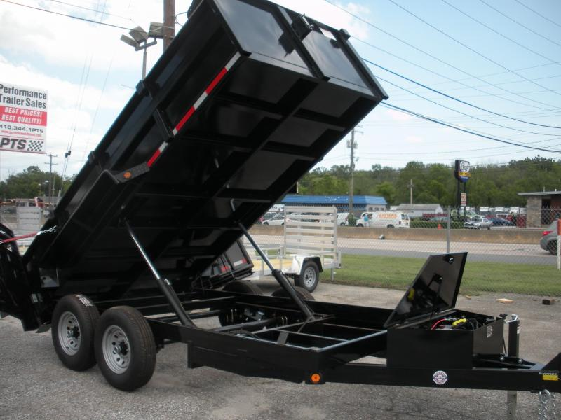 "2021 Quality Steel and Aluminum 83"" X 14' 14K *Dual Rams*Ramps Folded in Rear Gate*Stabilizer Legs*Power Up & Down*Dump Trailer"